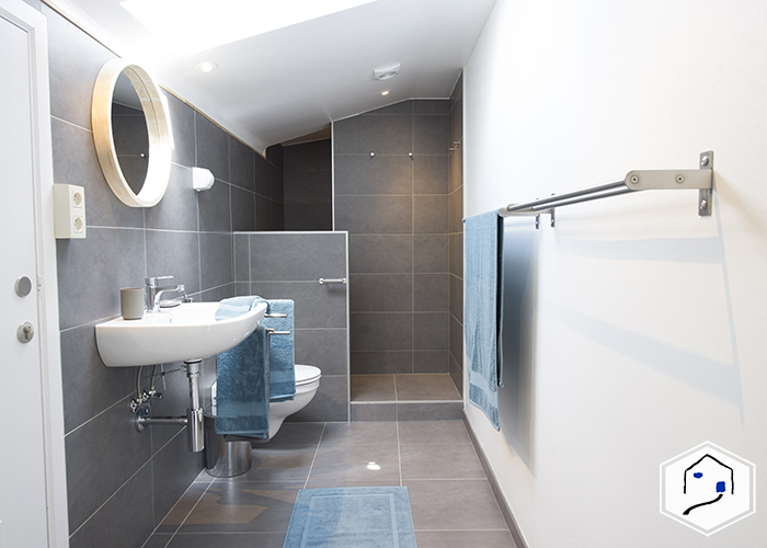 Private bathroom with shower, sink and WC
