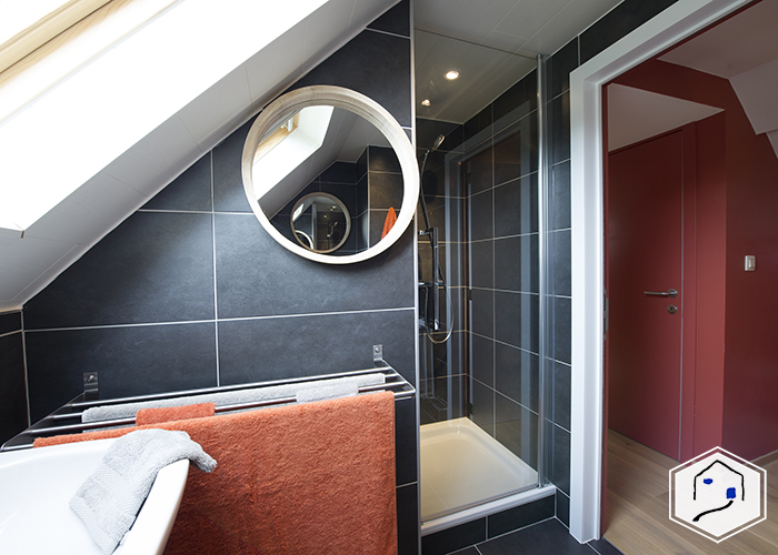 Private bathroom with shower, sink and separated WC